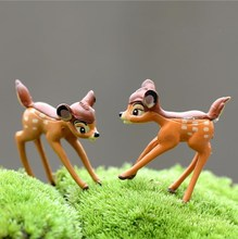 2pcs/lot PVC Mini Deers Fairy Garden Miniatures Home Decor Anime Dollhouse Animals Action Bambi Figurine Micro Landscape E360