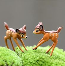 2 teile/los PVC Mini Hirsche Fee Garten Miniaturen Home Decor Anime Puppenhaus Tiere Action Bambi Figurine Micro Landschaft E360