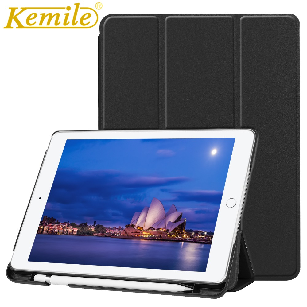 Kemile Case For New iPad 2018 A1893 A1954 9.7 PU Leather Smart Case W Pencil Holder Auto Sleep Wake Cover For New ipad 2018 Case lichee pattern protective pu leather case stand w auto sleep cover for google nexus 7 ii white