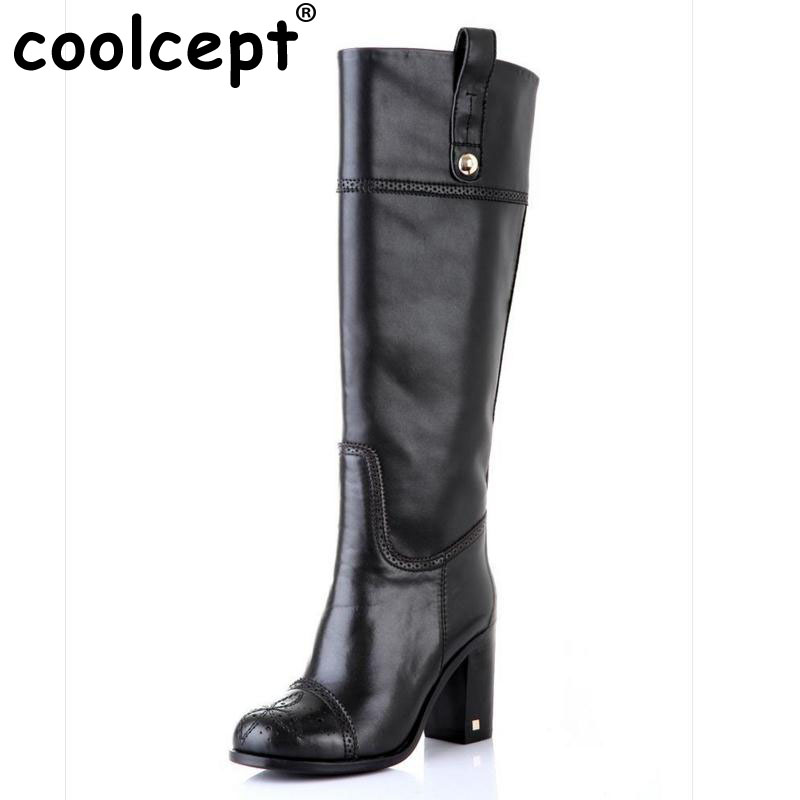 Coolcept Free shipping over knee long boots natural real genuine leather boots women boot high heel shoes R5392 EUR size 31-45 coolcept free shipping genuine leather quality high heel wedge sandals women fashion platform heels sandal r4222 eur size 34 39