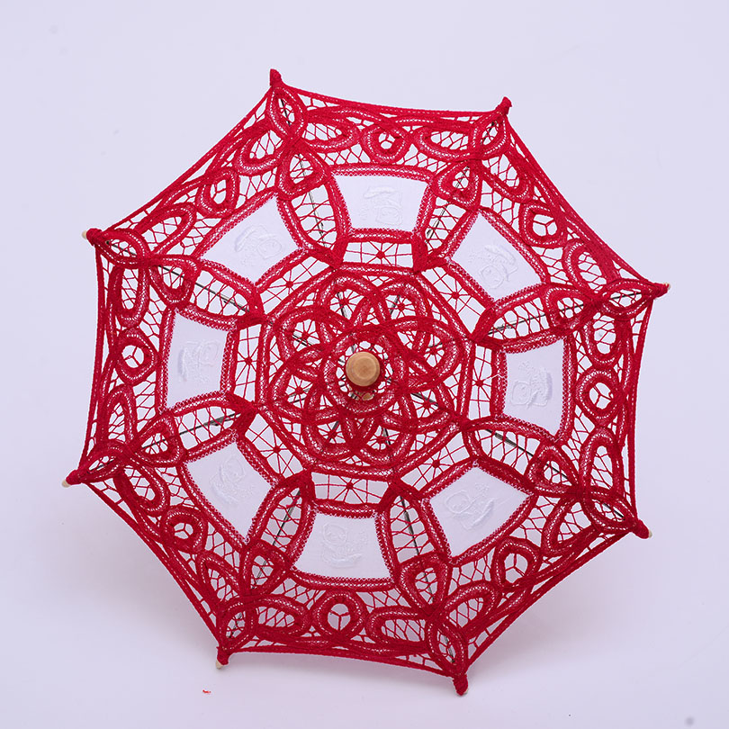 QUNYINGXIU Retro meisjesparaplu Craft Flower Lace Rose Red Show - Huishouden
