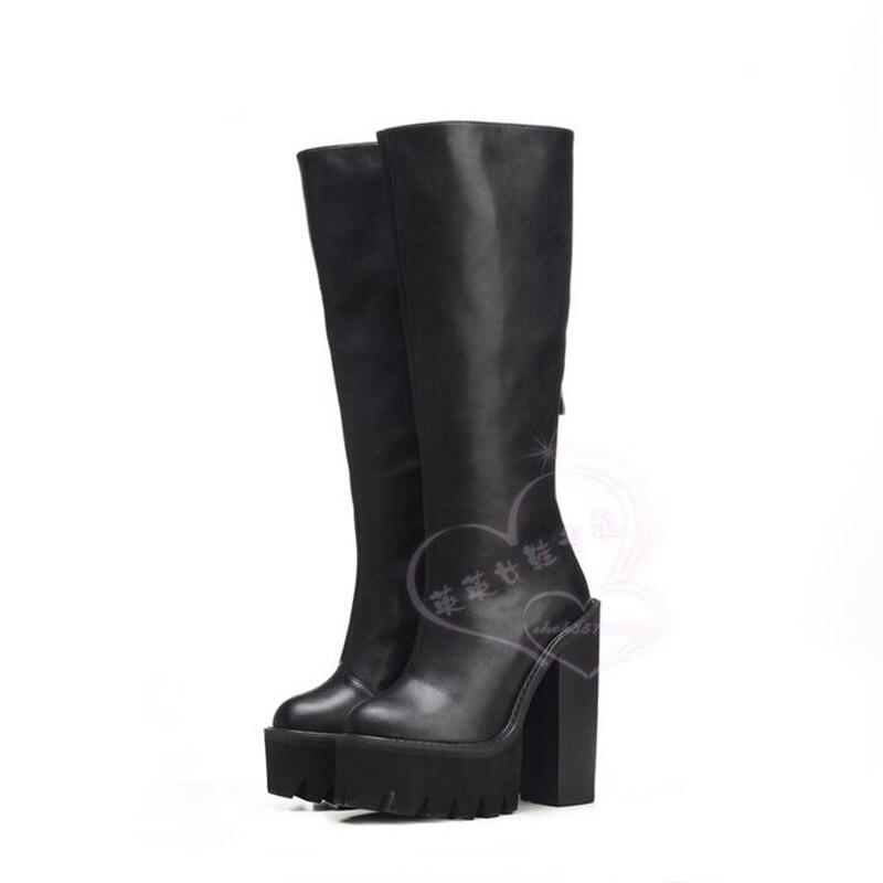 Winter ultra high heel knee-high boots European style high platform thick high heel long boots female fashion zipper boots epik high seoul