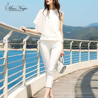 MaxNegio High Quality Designer Runway Suit Set Women S 2 Piece Pleated Sleeveless Tops White Pants