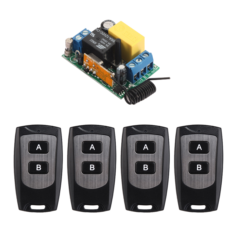 smart home New 220V 10A 1 Channel Wireless Relay Remote Control Light Switch RF Mini Receiver With 4pcs Transmitter zk2lm 2 channel dc12v 24v wireless remote control switch 10a relay receiver with 2pcs metal transmitter for smart home