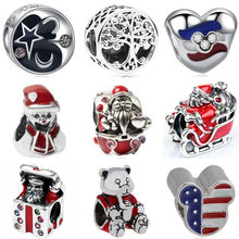 Fashion Snowman Cute Animal Dog Mickey & Minnie Santa Beads Fit Pandora Charm Bracelets for Women DIY Making Jewelry Accessories(China)