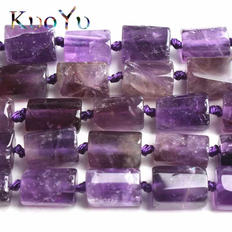 8X11 Mm Alami Segi Amethysts Ungu Manik-manik Batu Cylinde Bentuk Permata Longgar Spacer Bead untuk DIY Membuat Perhiasan gelang 15 Inch