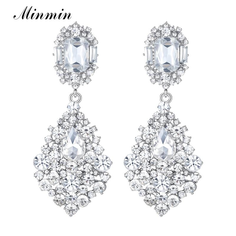 2015 New Arrival Jewelry Large Clear Crystal  Earrings White K Plated Long Earrings for Women Wedding Bridal Drop Earrings EH196