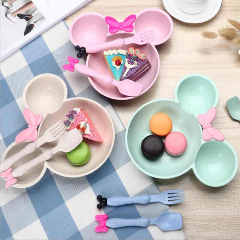 Food Grade Wheat material Cute Cartoon mickey mouse big Head bowl Fruit plate tableware dish for Spoon Tableware Set