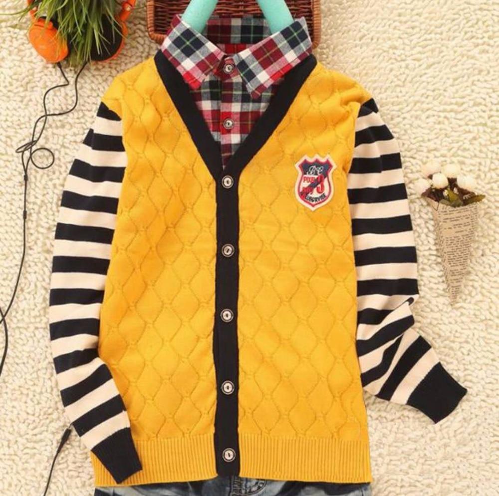 Children Clothes Boys Sweater 2018 Brand Design Fashion Turn-down Fake Collar Boy Cardig ...