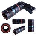 Clip Universal 8X Lupa Zoom Óptico Del Telescopio Lente de La Cámara Del Teléfono Caso kit de cubierta para iphone 6 6 plus 5 5s 4 4s samsung galaxy