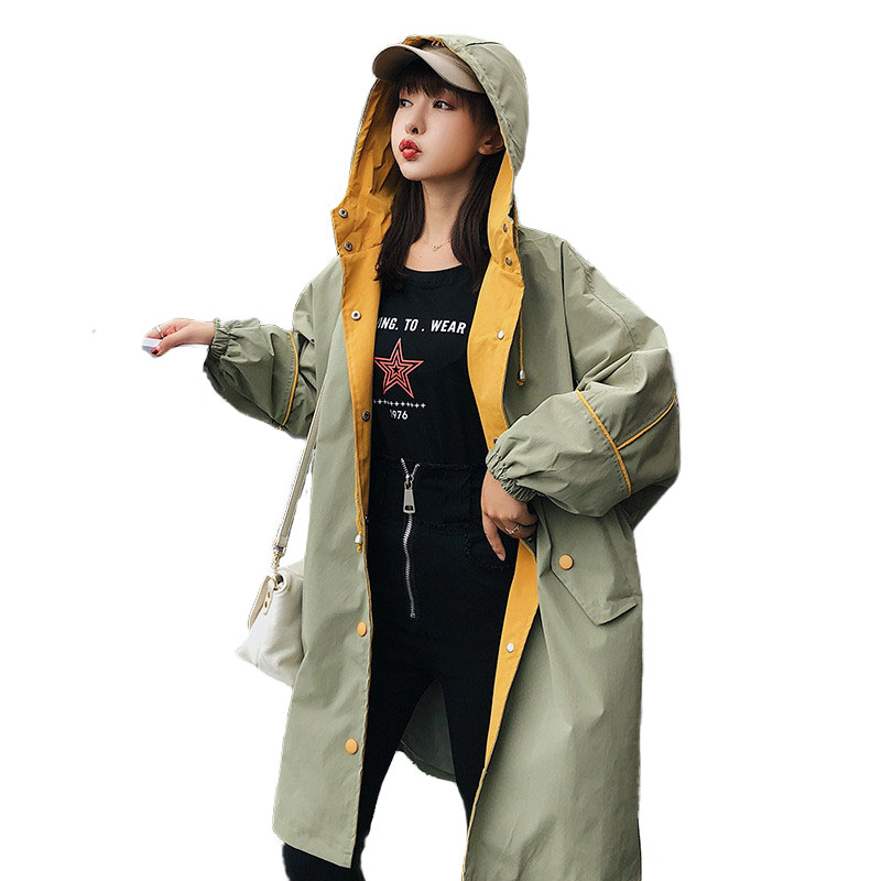 5c6b913a7a8ee Casual Trench coat Womens 2018 Spring Autumn Loose Windbreaker Students Large  size Hooded Tops Female Long Print Basic coat 2215