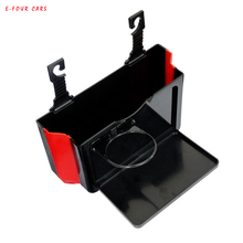E-FOUR Vehicle Back Seat Storage Table Box ABS+Tape Car Hanging Folding Flexible Tablet Cup Holder Functional