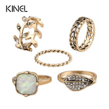 Luxury 5pcs/Sets Shell Beads Rings For Women Color Ancient Gold Vintage Jewelry Bohemia Punk Knuckle Joint Ring Set(China)