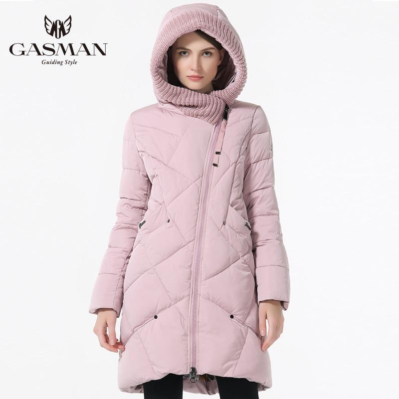 GASMAN 2018 nueva colección de invierno marca moda mujeres grueso invierno Bio abajo chaquetas mujeres con capucha Parkas abrigos tallas 5XL 6XL