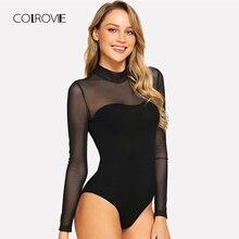 COLROVIE Solid Mock Neck Mesh Sheer Skinny Black Night Out Bodysuit Women Autumn
