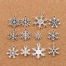 36pcs Christmas MIXED Snowflake Charm Beads Antique Silver Pendants Jewelry DIY Fit Bracelets Necklaces LM38