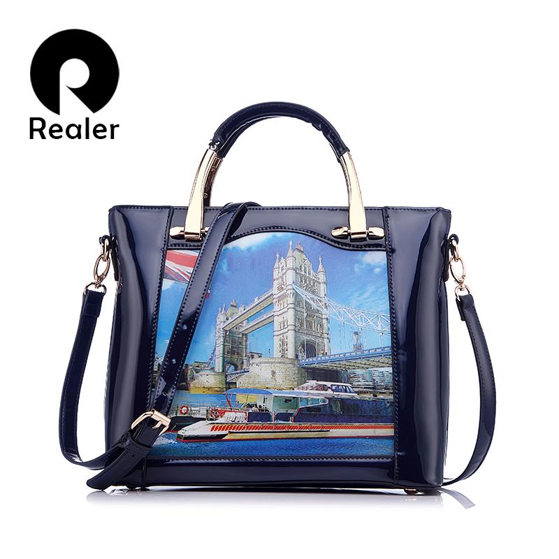 Prix pour Realer marque nouvelle 3d motif conception sac à main femmes casual fourre-tout sac de mode pu en cuir verni sacs à bandoulière femme sac à main