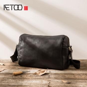 AETOO Men's Leather Shoulder Messenger Bag Retro Handmade Postman Pack Casual  Leather Bag Men's Bag Tide Pack aetoo new handmade leather one shoulder messenger bag men s casual retro men s suede leather soft leather japanese messenger bag