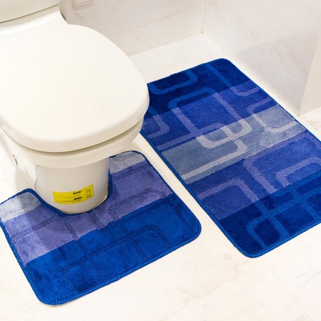 2PCS/SET Blue Thicken Coral Fleece Floor Bath Mats Set Non-Slip Bathroom Toliet Rugs 40*50+50*80cm Carpet Mat In Bathroom Toilet