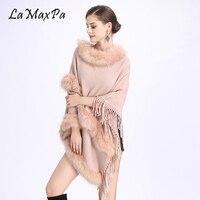 LaMaxPa Women Fur Shawl With Tassel Sweater Shawl Poncho Faux Fur Stole Pashmina Poncho Femme Fausse Fur Mujer Falso Pelaje Chal