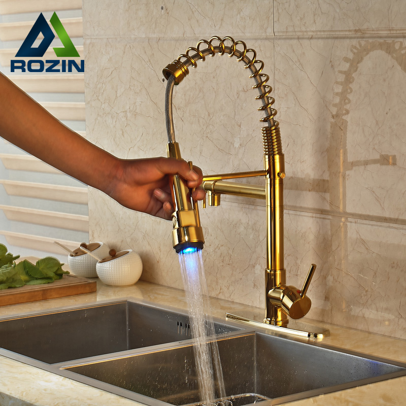 Golden with Side Spout Kitchen Sink Faucet Deck Mounted with 8 Hole Cover Plate LED Light Hot and Cold Water Taps