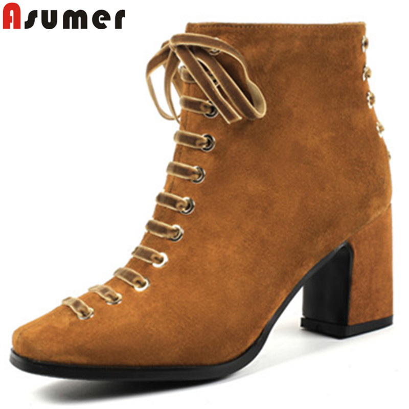 ASUMER fashion autumn winter shoes woman square toe ankle boots for women zip suede leather boots cross tied high heels boots ASUMER fashion autumn winter shoes woman square toe ankle boots for women zip suede leather boots cross tied high heels boots
