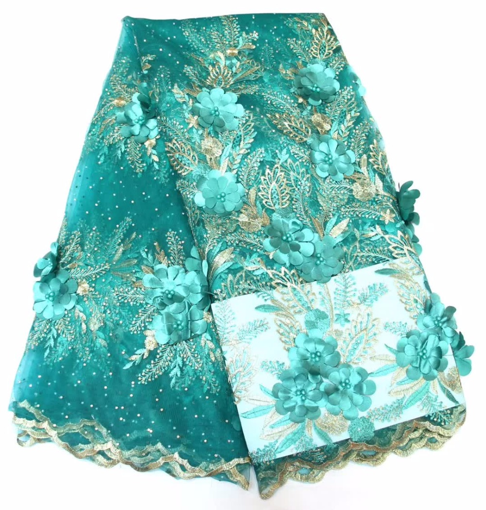 Apparel Sewing & Fabric Novelty 3d Applique Lace With Beads And Diamond 5yards/lot 2017 Latest Design African Lace Fabric For Wedding Dress Royal Green Rapid Heat Dissipation Home & Garden