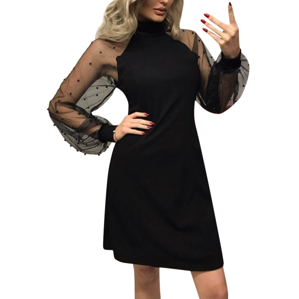Elegant Womens Dress Autumn Pearl Beading Mesh Sleeve Tunic Dresses Black Pink Blue Long Sleeve