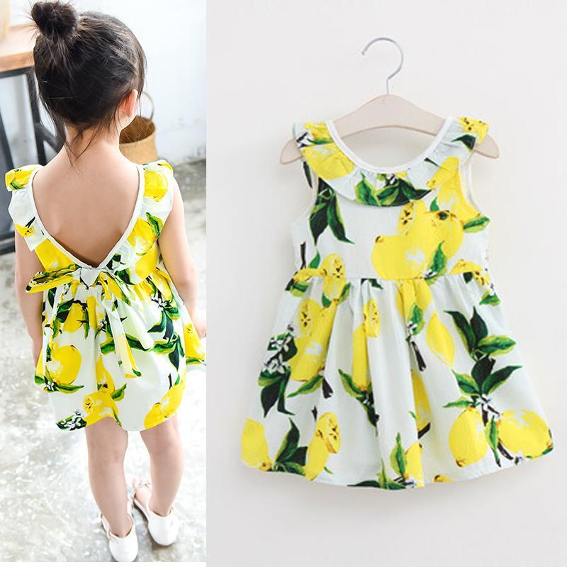 Fashion Lemon Girls Dress Cotton Sleeveless Children Dress Ruffles Bow Backless Kids Dresses for Girls Summer Children Clothes