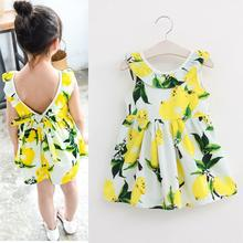 Fashion Lemon Girls Dress Cotton Sleeveless Children Dress Ruffles Bow Backless Kids Dresses for Girls Summer Children Clothes