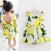 2016 Fashion Girls Lemon Dress Children Summer Dress Kids Sleeveless Cotton Baby Girls Sundress Bowknot Girl