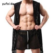 New Hot Men Undershirts Fashion Hollow Out Breathable Nightwear Sexy Sleepwear Bathing Robe Gay Male Clubwear Gay Undershirts