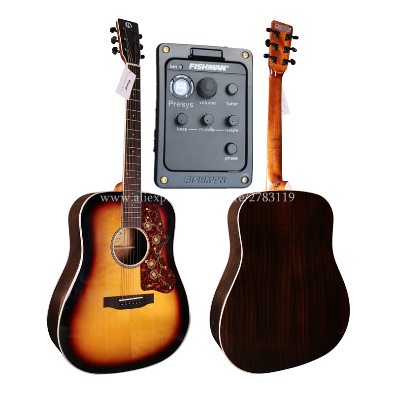 Professional Electric Guitar With pickup,41 Electric Acoustic Guitar,Solid Spruce Top/Rosewood Body, guitars With Hard caseProfessional Electric Guitar With pickup,41 Electric Acoustic Guitar,Solid Spruce Top/Rosewood Body, guitars With Hard case
