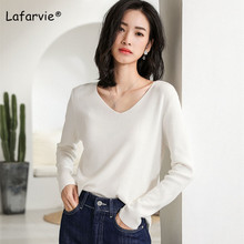 Lafarvie Knitted V-neck Sweater Women Slightly Loose Long Sleeve Pullover Female Plus Size Basic Pull Jumper 5 Colors