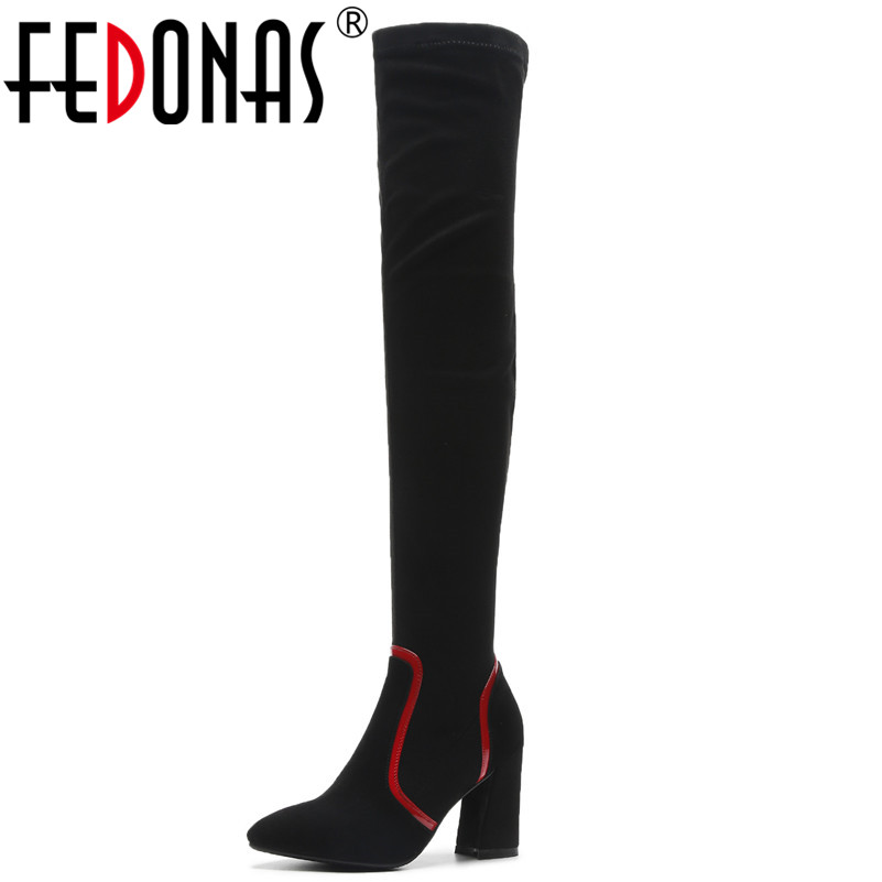 FEDONAS Fashion Brand Over The Knee High Boots High Heels Long Stretch Autumn Winter Shoes Woman Sexy Pointed Toe Knight Boots