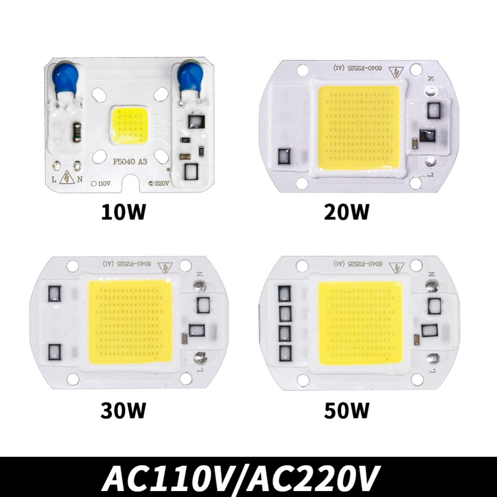 COB Lamp Chip LED Bulb Smart IC Driver DIY Spotlight Floodlight Energy Saving Outdoor 10W 20W 30W 50W High Power 110V 220V 12V