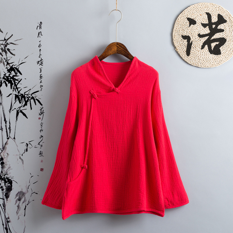 New Women   Blouse   Femininas 2018 Long Sleeve   Blouse     Shirt   Women V-Neck Casual cotton Linen   Shirts   Plus Size Lady   Shirt   S-5XL 6XL