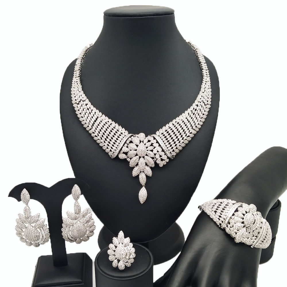 18K for wedding Zircon jewelry sets african jewelry set wholesale african jewelry sets women necklace BRACELET ring in Jewelry Sets from Jewelry Accessories