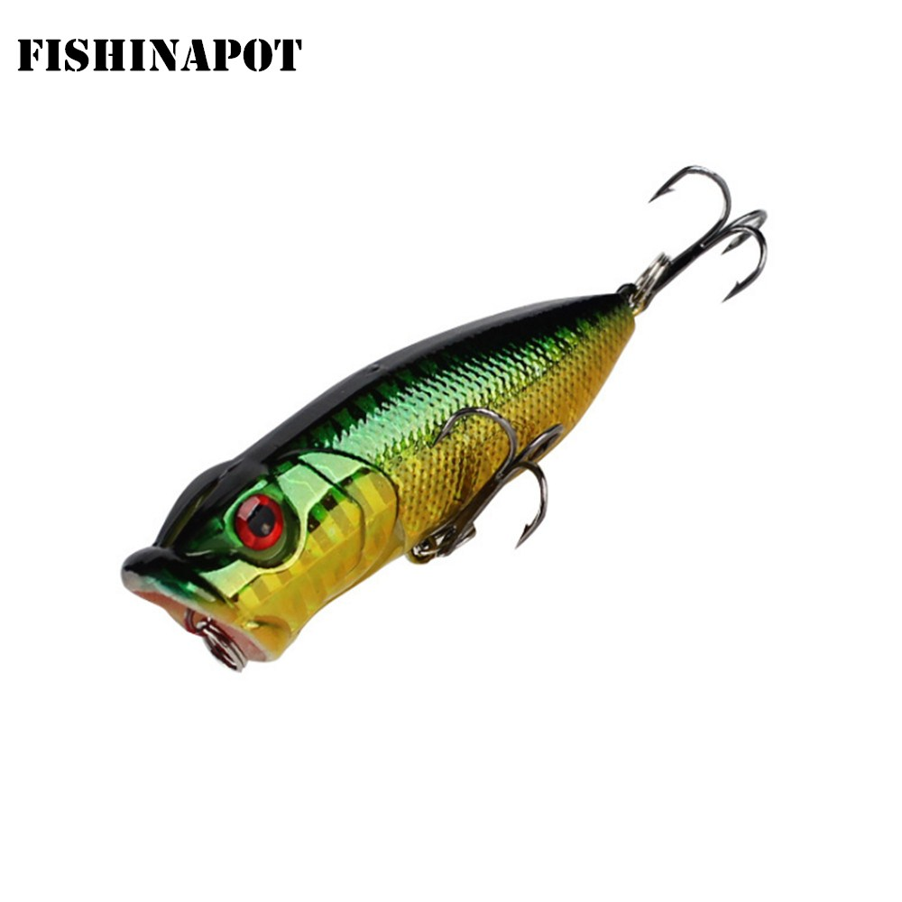 FISHINAPOT 1PCS Laser Popper Fishing Lure 3D Eyes Floating Crankbait Wobblers Isca  Japan Artificial Hard Bait Fishing Tackle