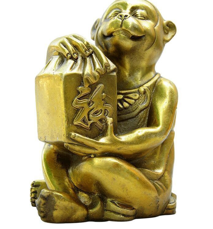 Chinese Bronze Folk Year Zodiac Wealth Fu Monkey Hold Seal Statue SculptureChinese Bronze Folk Year Zodiac Wealth Fu Monkey Hold Seal Statue Sculpture