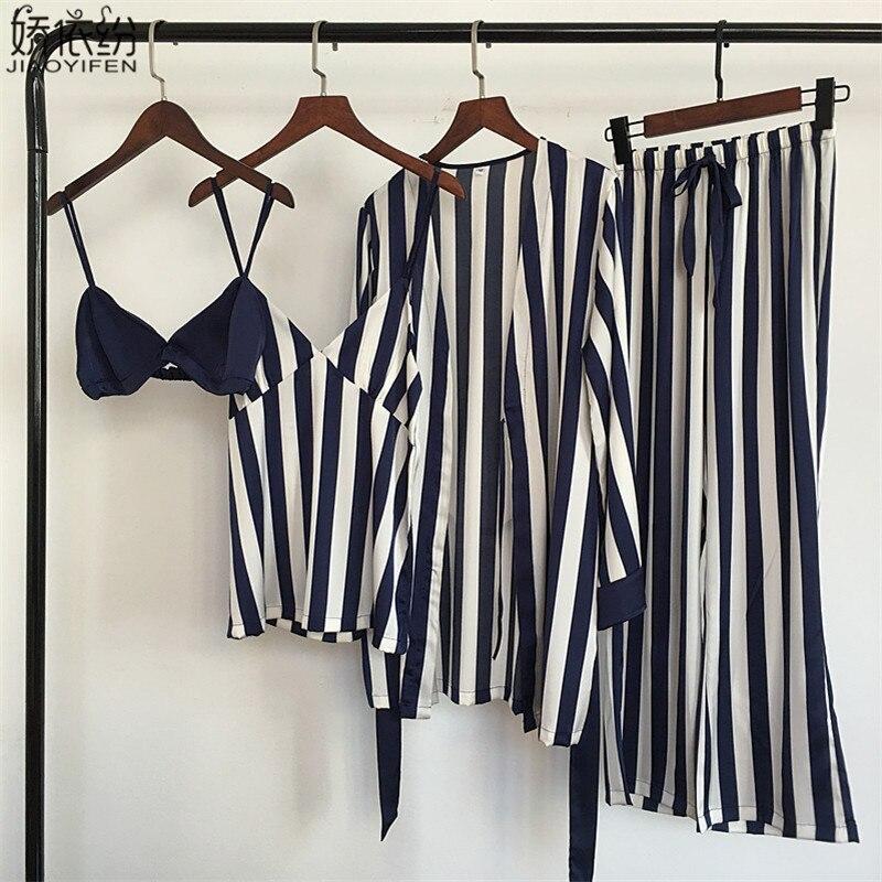 Pajama     set   for women luxury satin sleepwear stripe comfortable home wear 4 pieces pyjamas vest+bra+coat+pants silk nightwear