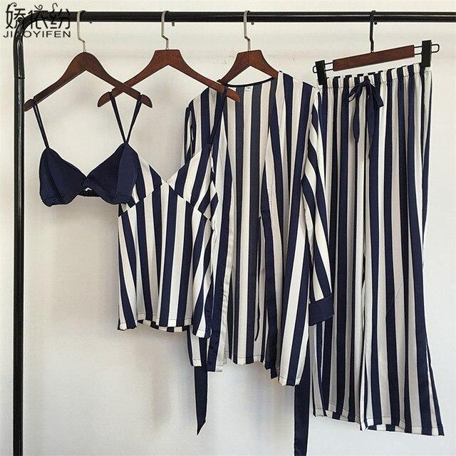 パジャマセット女性の高級サテンパジャマストライプ快適なホームウェア 4 個パジャマベスト + ブラジャー + コート + パンツシルクナイトウェア