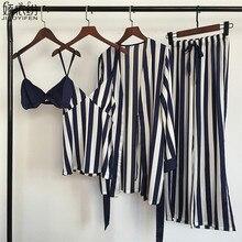 Pyjama set für frauen luxus satin nachtwäsche streifen komfortable hause tragen 4 stück pyjamas weste + bh + mantel + hosen seide nachtwäsche