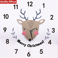 Cartoon Creative Christmas Elk Pattern 3D Wall Sticker Wall Clock kids Room Kindergarten Living Room Bedroom Sofa Wall Clock A5