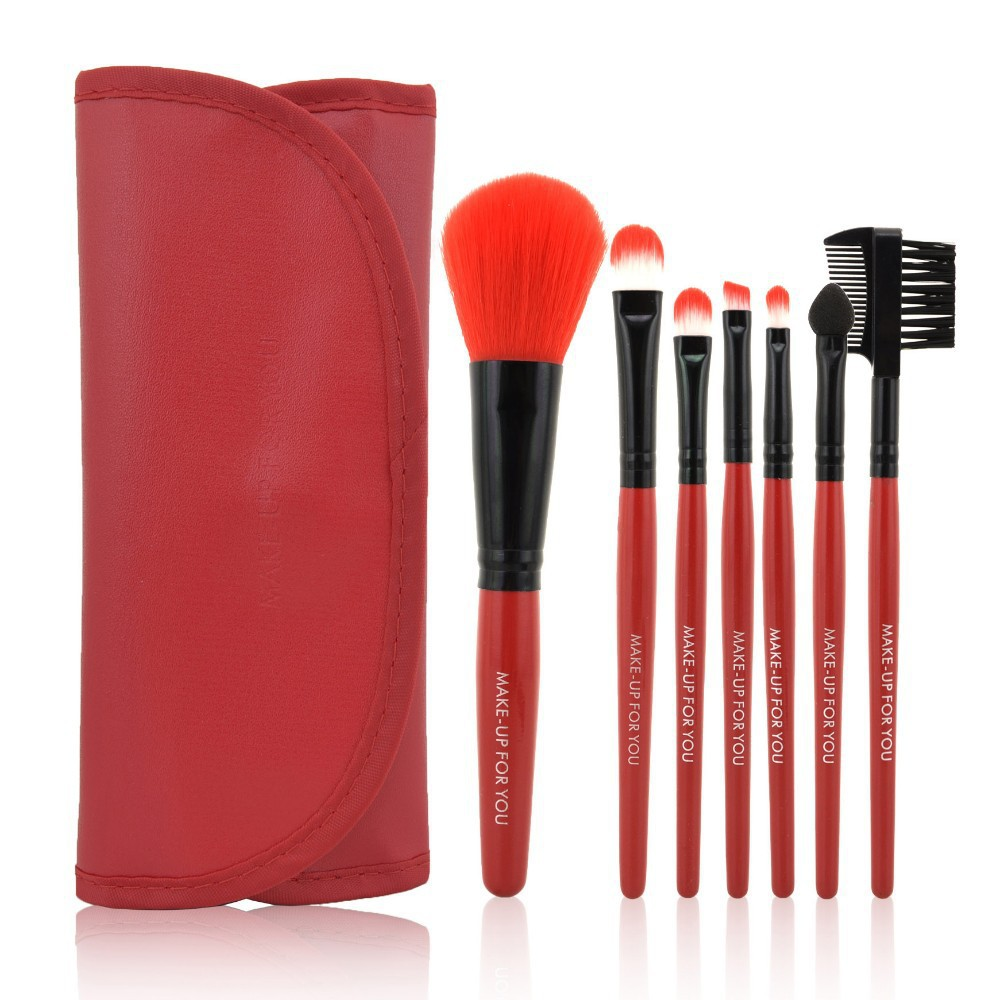 1Set  Professional 7 pcs Red Makeup Brush Set tools Make-up Toiletry Kit Wool Brand Make Up Brush Set Case Free Shipping hot sale professional 24 pcs makeup brush set tools make up toiletry kit wool brand make up brush set cosmetic brush case
