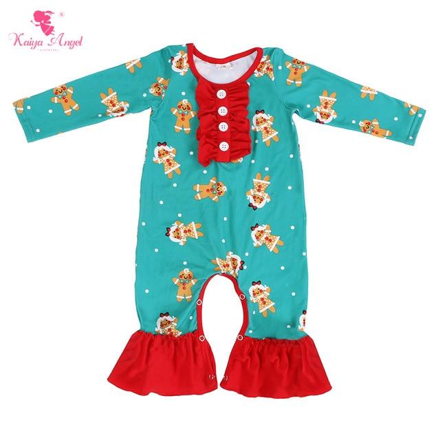 Kaiya Angel Baby Clothes Winter Girl Boy Ruffle Romper Long Sleeve