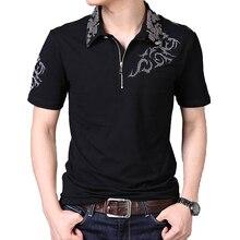 Summer 2018 Hot Men T Shirt Silver Dragon Tattoo Collar Short Sleeve Cotton T-shirt Men's Casual Gentleman Tee Shirt Plus 5XL