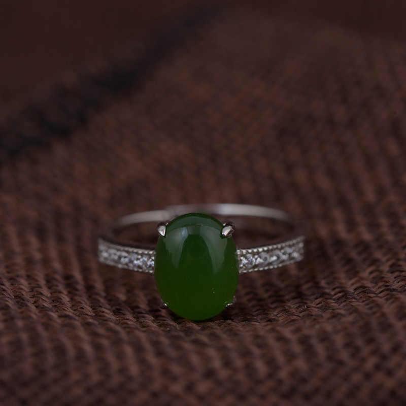 เงินแท้ 925 แหวนหยกสีเขียวส่วนบุคคลกรงเล็บการตั้งค่าหินธรรมชาติปรับเครื่องประดับ Anello Donna