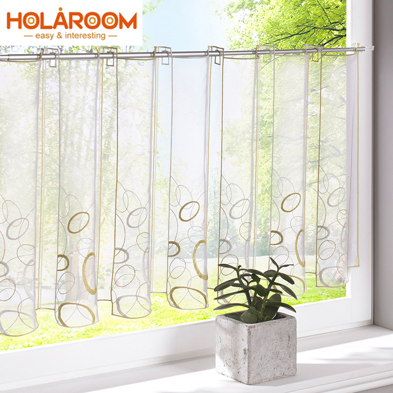 Circles Pattern Half-curtain Embroidery Striped Short Panel Curtain Half Curtain For Kitchen Cafe LivingRoom Cabinet Door