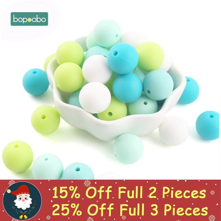 Bopoobo 40pc Silicone Beads Colorful Series Silicone Food Grade Teething Beads DIY Nursing Bracelet Bead Baby Teether 12mm